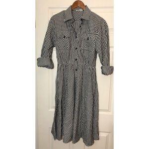 70's Lanvin Gingham Checked Midi Dress